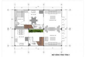 Bố trí mặt bằng biệt thự hiện đại 2 tầng 1 tum